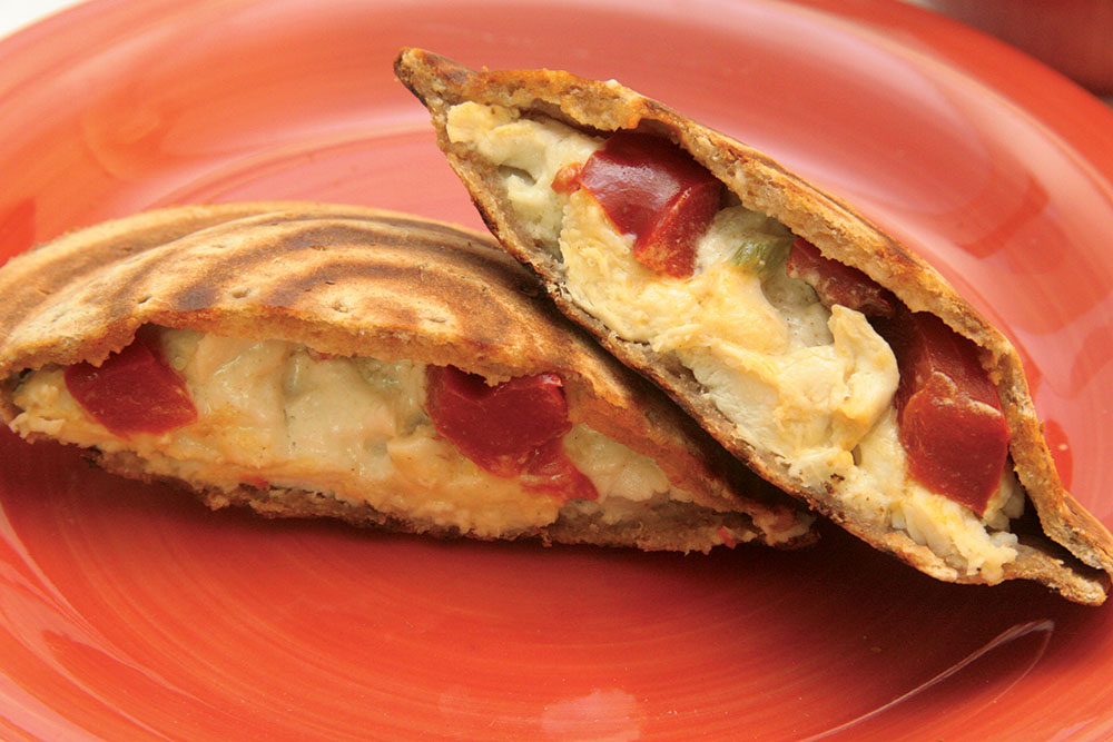 Toas-Tite Pie Iron Camping or Kitchen Recipes - Chicken Salad. Flat bread. Roasted Red Peppers. Toast 1 minute each side.